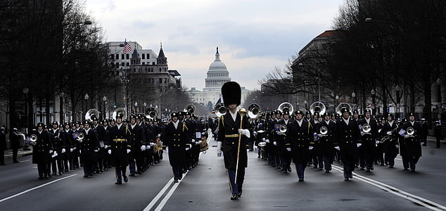 band marching in front of The Capitol Building