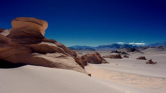 brown rocks on sand dunes