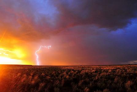 grain field under lightning