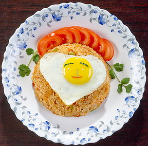 fried rice on white ceramic plate