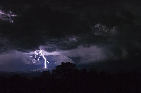 lightning during nightime