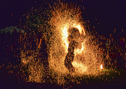 silhouette photo of person holding sparklers
