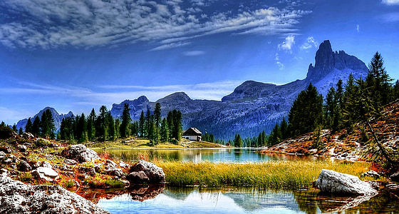 lake with background of mountain