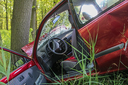 opened red vehicle door