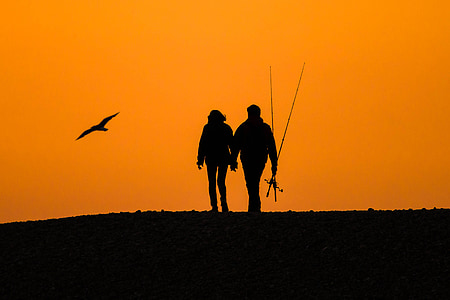 silhouette of couple with fishing rods and flying bird on hill
