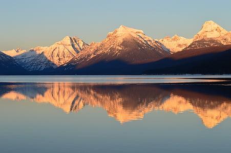 reflection photography of mountain range