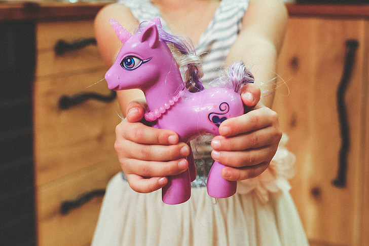 girl carrying people unicorn toy