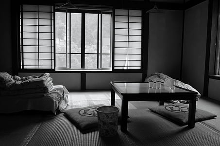grayscale photography of living room