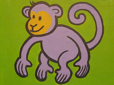 illustration of grey monkey