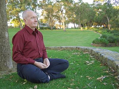 man wearing red dress shirt sitting near the tree