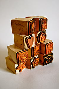 brown wooden stamps