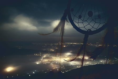 dream catcher with city lights background