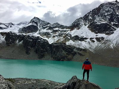 man standing on cliff looking at green lake near mountain at daytime