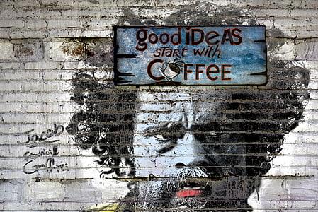 photo of Good Ideas Start with Coffee graffiti
