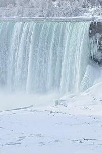 waterfall near snow covered tree