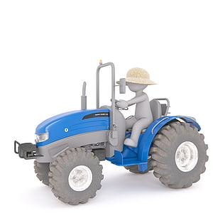 blue tractor toy