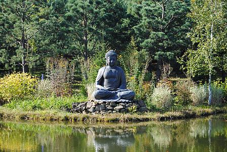 Gautama Buddha statue in front of calm body of water