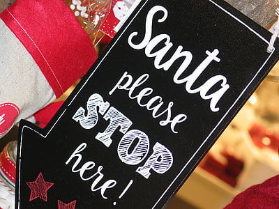 white and black santa please stop here-printed card