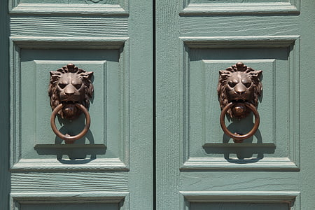 two teal wooden doors with lion door knocker