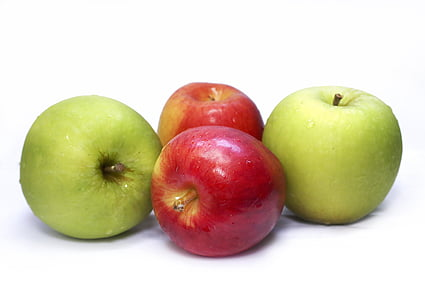 two red and two green apple fruits