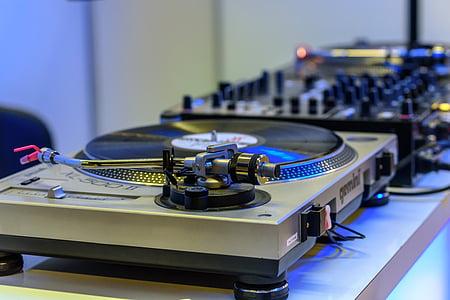 gray and black vinyl record player