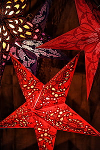 two red star wall decors