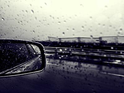car, window, mirror, rain, drops, vehicle