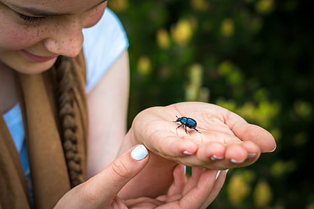 woman holding black bug near green bush during daytime