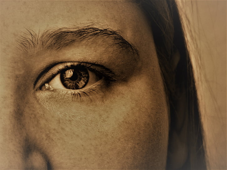 eye, face, female, woman, freckles, young