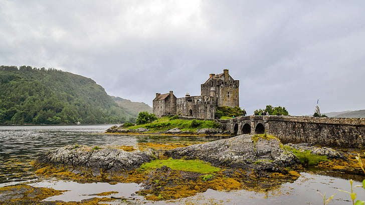 castle surrounded by body of water near mountain