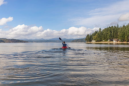 person riding on kayak on large body of water