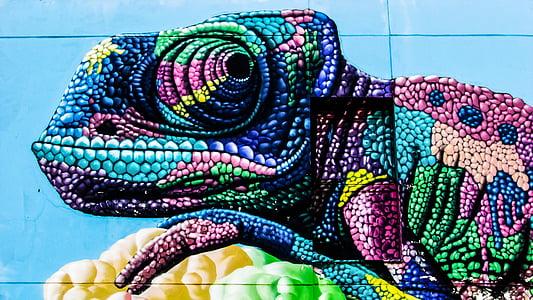 multicolored chameleon illustration