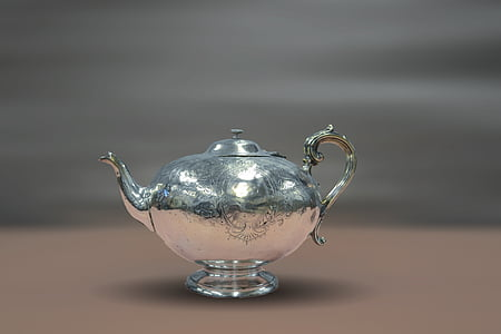 macro shot of stainless steel teapot