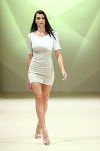 woman in white and gray bodycon