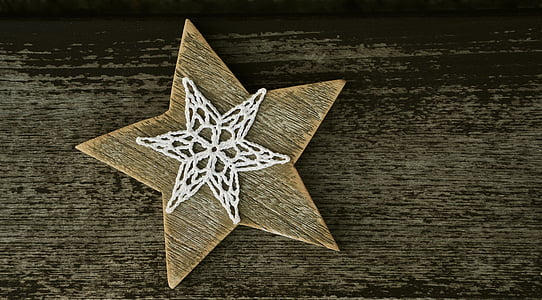 brown and white star wall decor