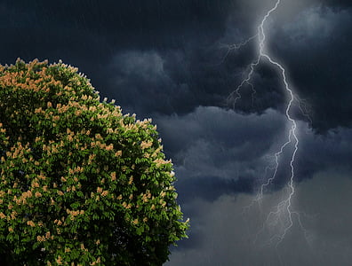 lightning on sky
