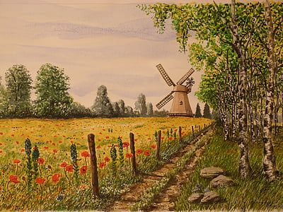 brown windmill and green leaf trees