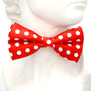 red and white polka-dot bow tie