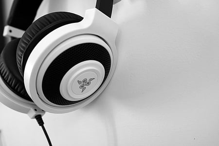 white and black Razer corded headphones