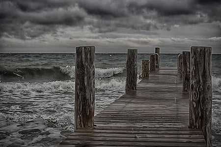 brown dock during cloudy day