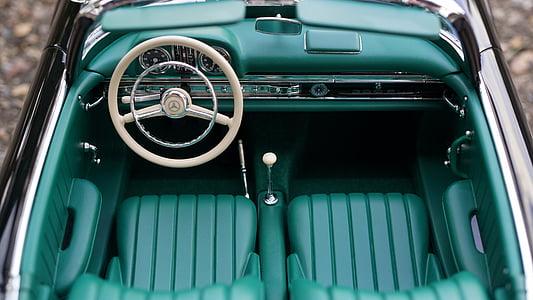 green Mercedes-Benz car interior