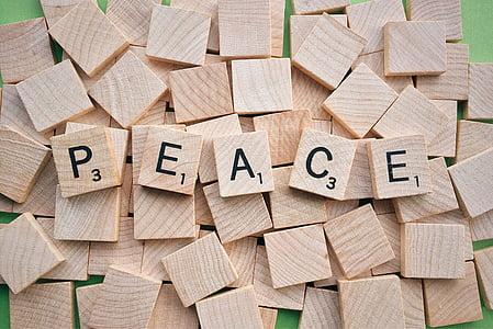 peace scrabble signage