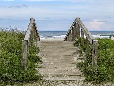 brown wooden footbridge near shoreline during daytime