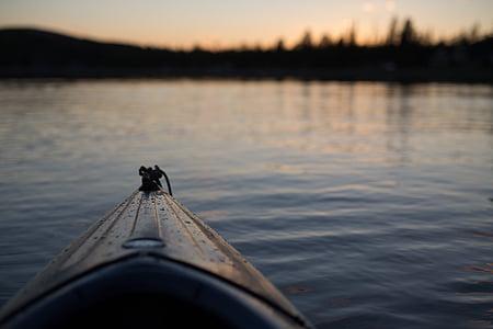 closeup photography of yellow kayak