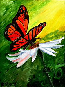monarch butterfly perched on white daisy painting