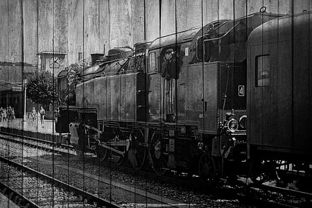 grayscale photography of train