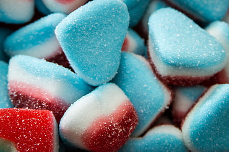 blue-white-and-red sugar coated candies