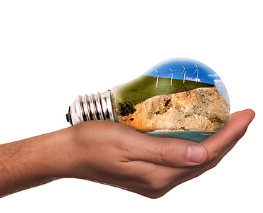 light bulb on person's right hand