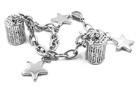silver-colored charm bracelet