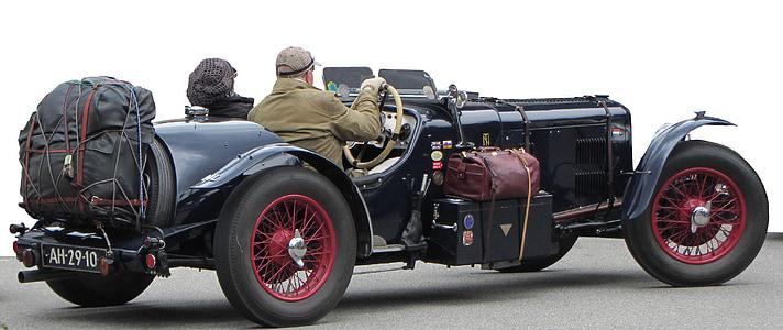 man wearing brown jacket riding black muscle car